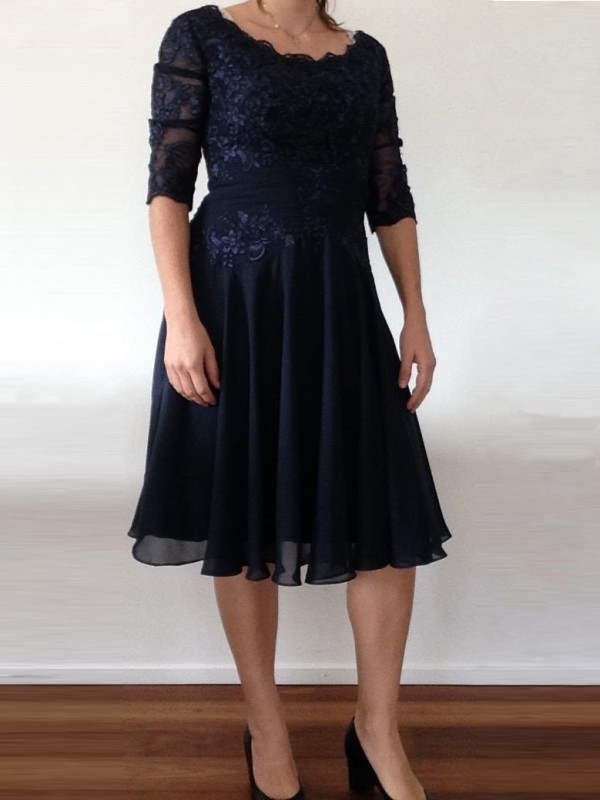 Classical A-Line Scoop 1/2 Sleeves Knee-Length Chiffon Mother Of The Bride Dress