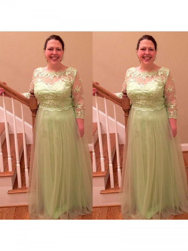 Fancy A-Line Sheer Neck 3/4 Sleeves Floor-Length Tulle Mother Of The Bride Dress