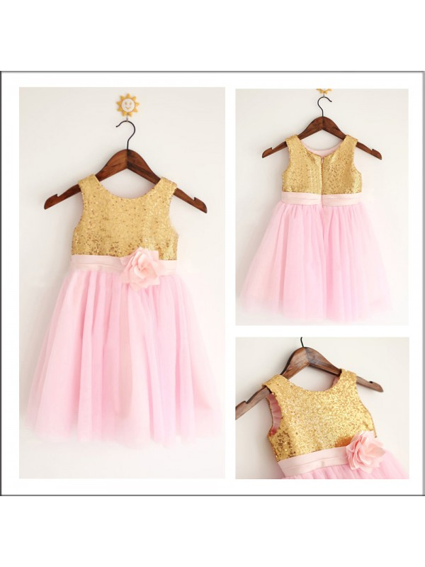Elegant A-Line Scoop Sleeveless Tea-length Tulle Flower Girl Dress