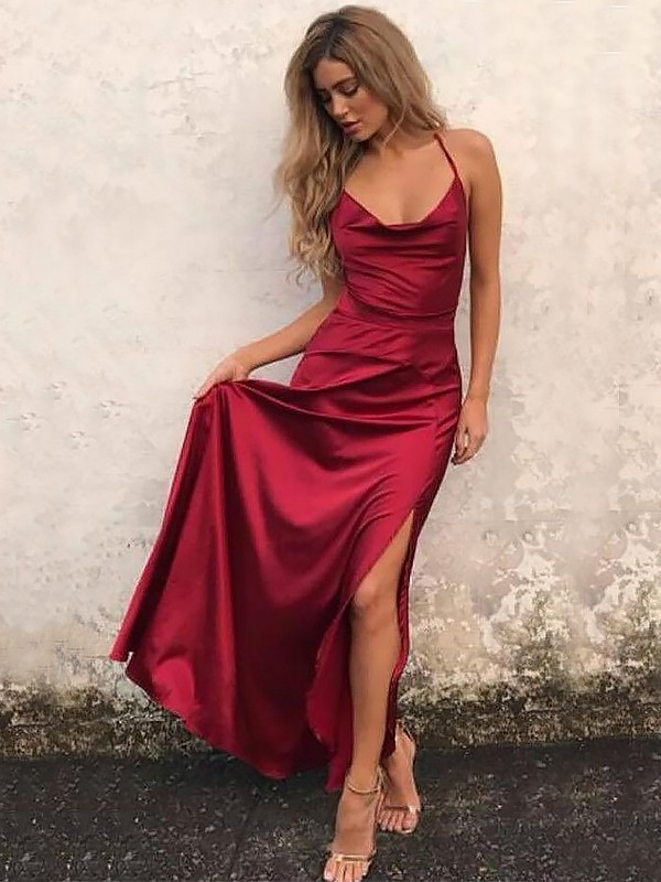 Gorgeous A-Line Spaghetti Straps Sleeveless Floor-Length Elastic Woven Satin Dress