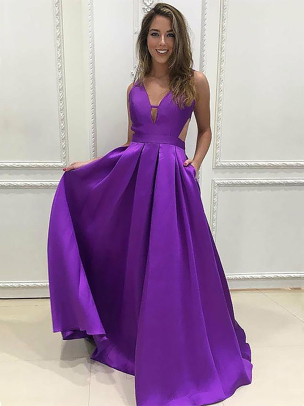 Gorgeous A-Line V-neck Sleeveless Sweep/Brush Train Satin Dress