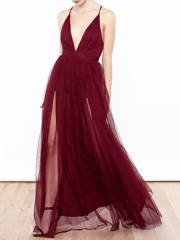 Gorgeous A-Line V-neck Floor-Length Tulle Sleeveless Dress