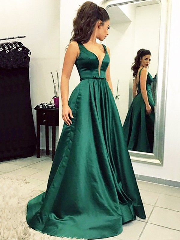 Gorgeous A-Line V-neck Sweep/Brush Train Satin Sleeveless Dress