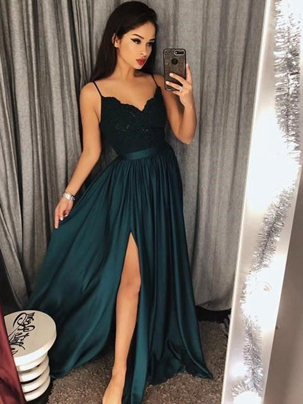 Unique A-Line Spaghetti Straps Sleeveless Floor-Length Lace Silk like Satin Dress