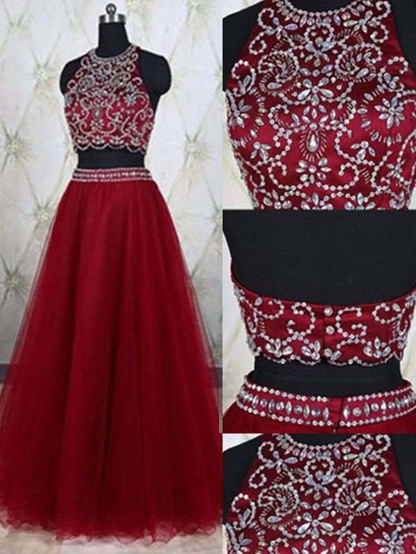 Perfect A-Line Sleeveless Jewel Tulle Floor-Length Two Piece Dress