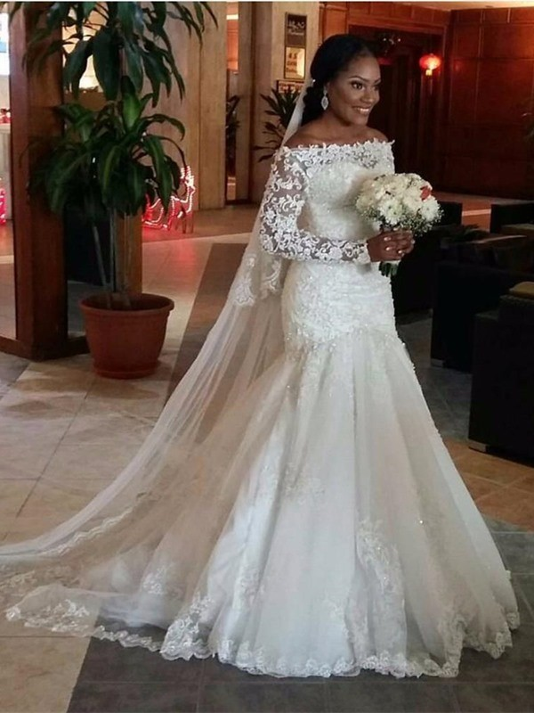Affordable Mermaid Off-the-Shoulder Long Sleeves Lace Sweep/Brush Train Tulle Wedding Dress
