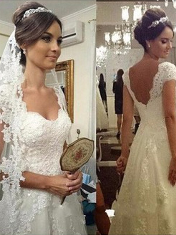 Affordable A-Line Sweetheart Floor-Length Sleeveless Lace Tulle Wedding Dress