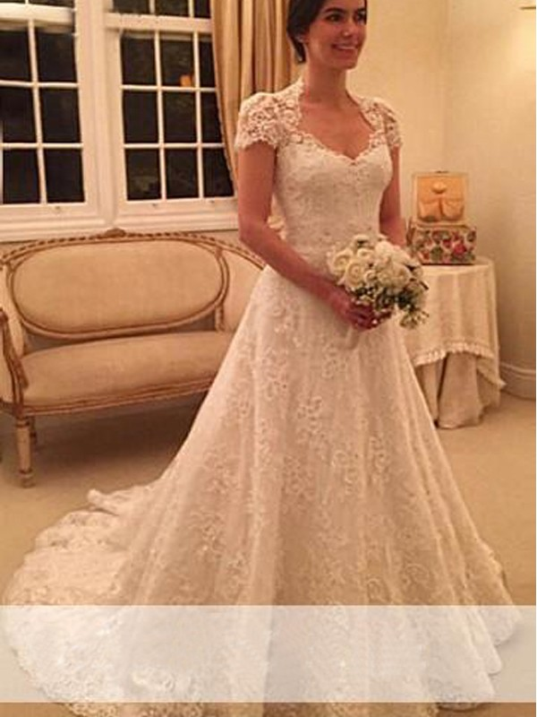 Affordable A-Line Sweetheart Court Train Short Sleeves Lace Wedding Dress