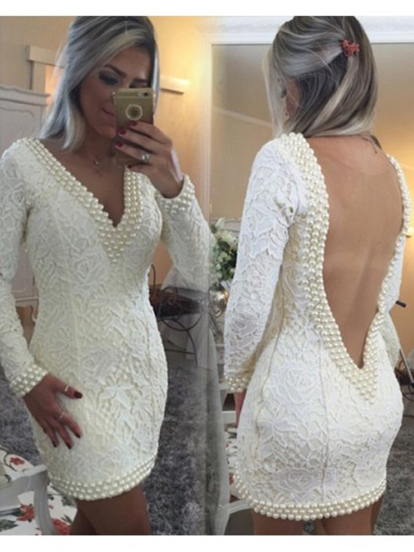 Discount A-Line Long Sleeves V-neck Lace Short/Mini Dress