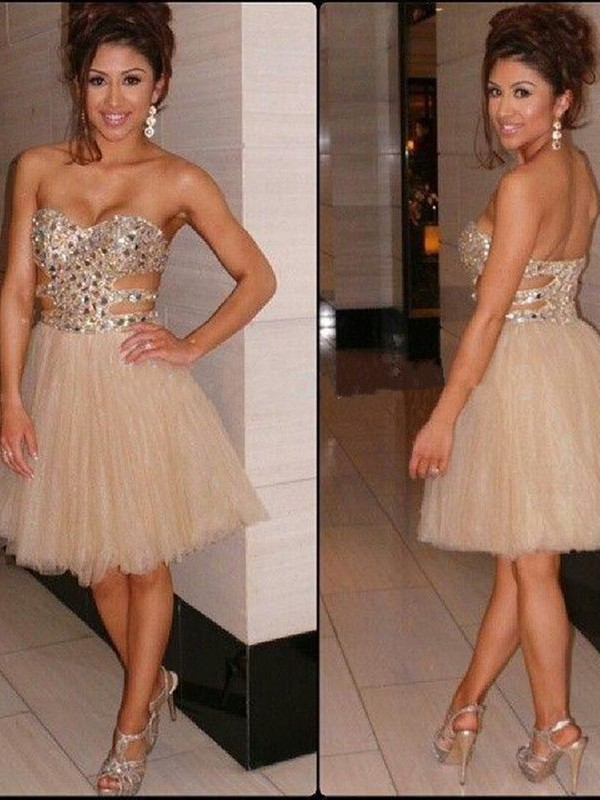 Discount A-Line Sleeveless Sweetheart Sequin Tulle Short/Mini Dress