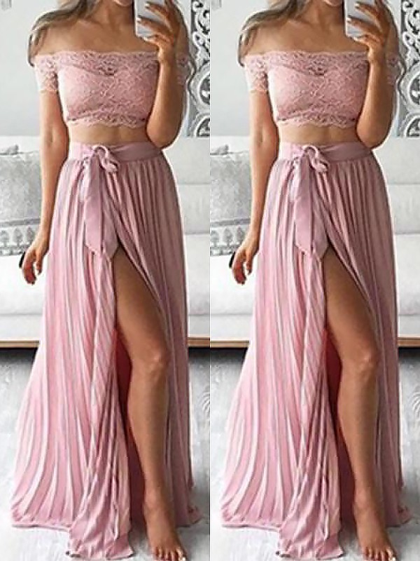 Stylish A-Line Off-the-Shoulder Sleeveless Chiffon Floor-Length Lace Two Piece Dress