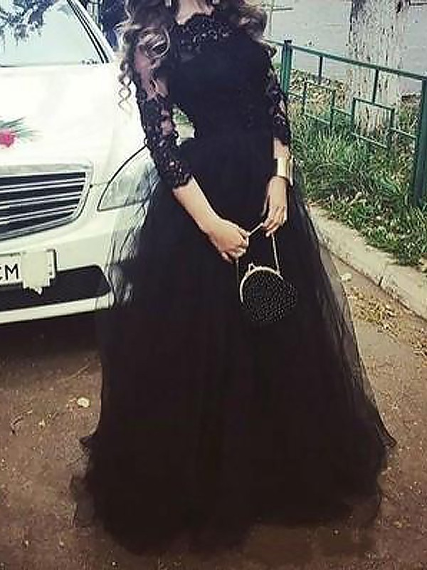 Fashion Ball Gown 3/4 Sleeves Bateau Lace Floor-Length Tulle Dress