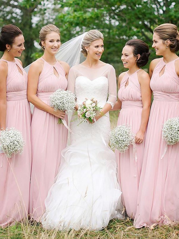 Exquisite A-Line Sleeveless Scoop Floor-Length Chiffon Bridesmaid Dress