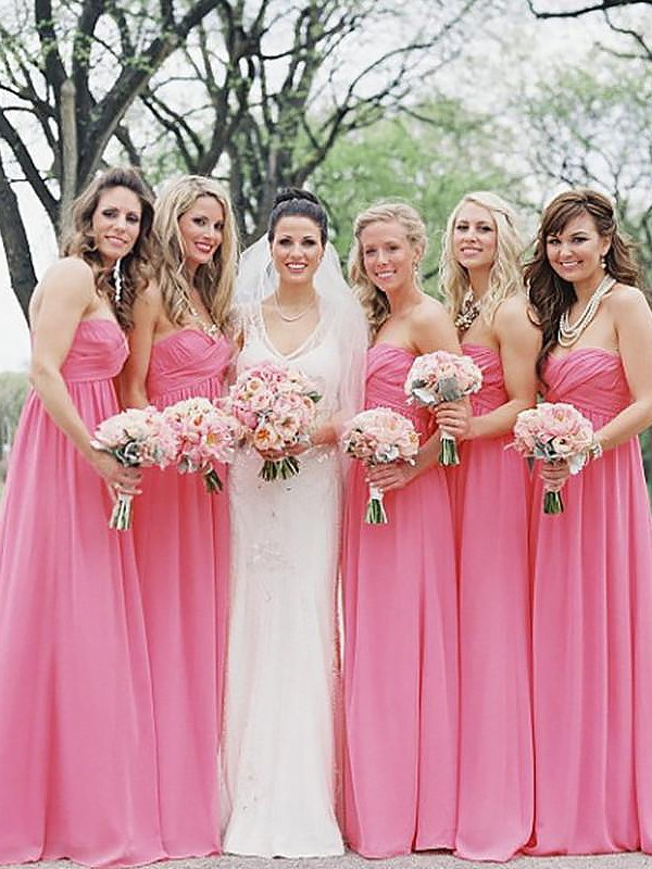 Exquisite A-Line Sweetheart Chiffon Sleeveless Floor-Length Bridesmaid Dress