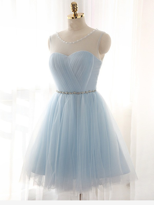 Discount A-Line Scoop Sleeveless Short/Mini Tulle Dress