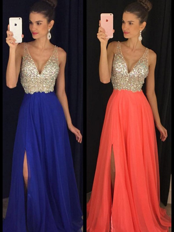 Stunning A-Line V-neck Sleeveless Floor-Length Chiffon Dress