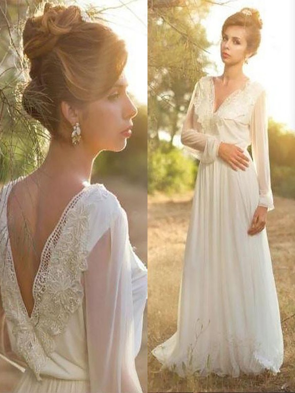 Fashion A-Line V-neck Long Sleeves Lace Chiffon Sweep/Brush Train Wedding Dress