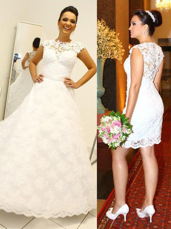 Fashion Ball Gown Scoop Lace Sleeveless Floor-Length Wedding Dress