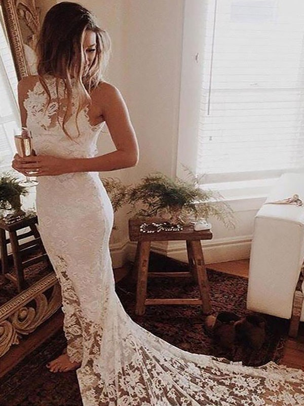 Fashion Mermaid Halter Sleeveless Lace Chapel Train Wedding Dress