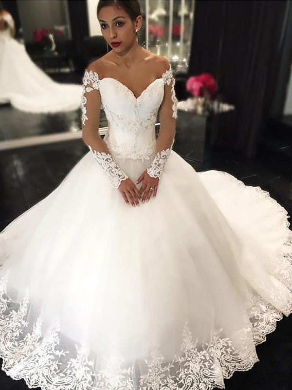 Exquisite Ball Gown Long Sleeves Tulle Off-the-Shoulder Court Train Wedding Dress