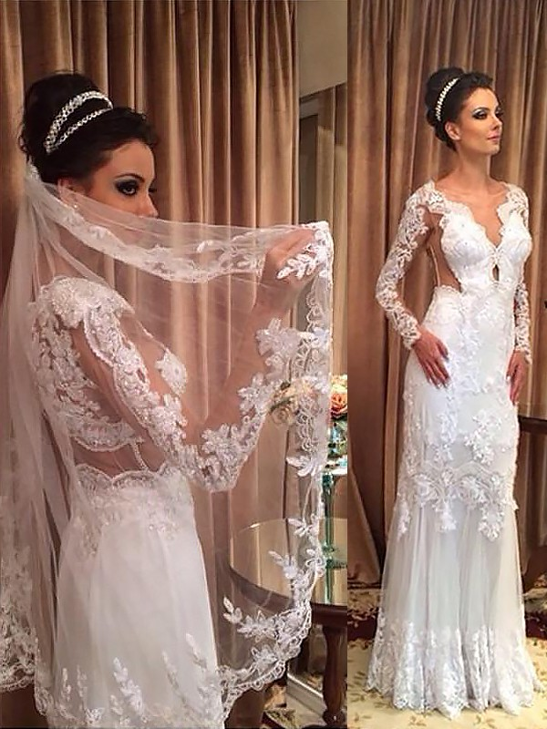 Exquisite Sheath Tulle Long Sleeves V-neck Floor-Length Wedding Dress