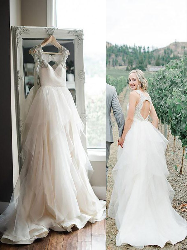 Exquisite A-Line Straps Sweep/Brush Train Tulle Sleeveless Wedding Dress