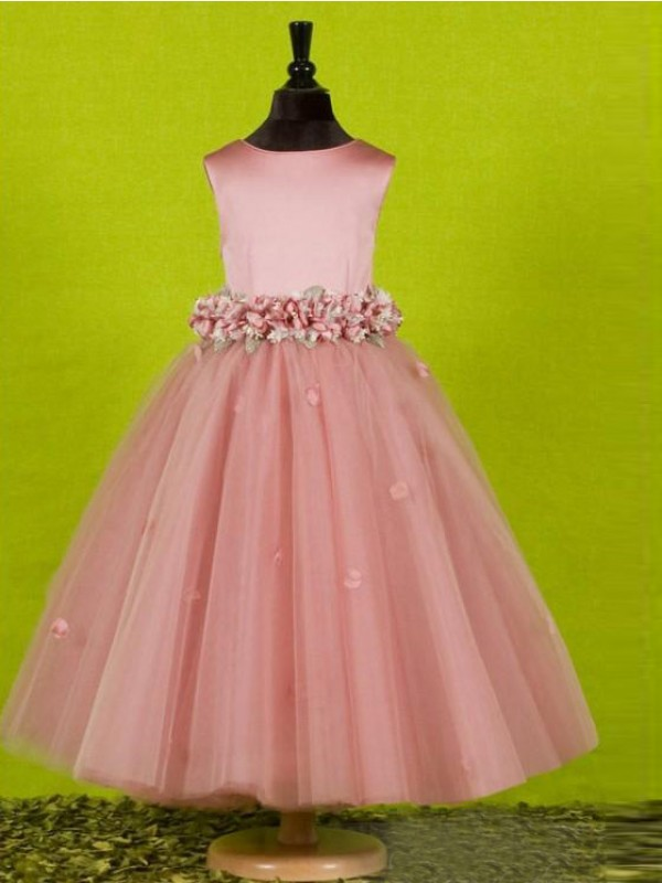 Cheap A-line Scoop Sleeveless Bowknot Tea-Length Tulle Flower Girl Dress