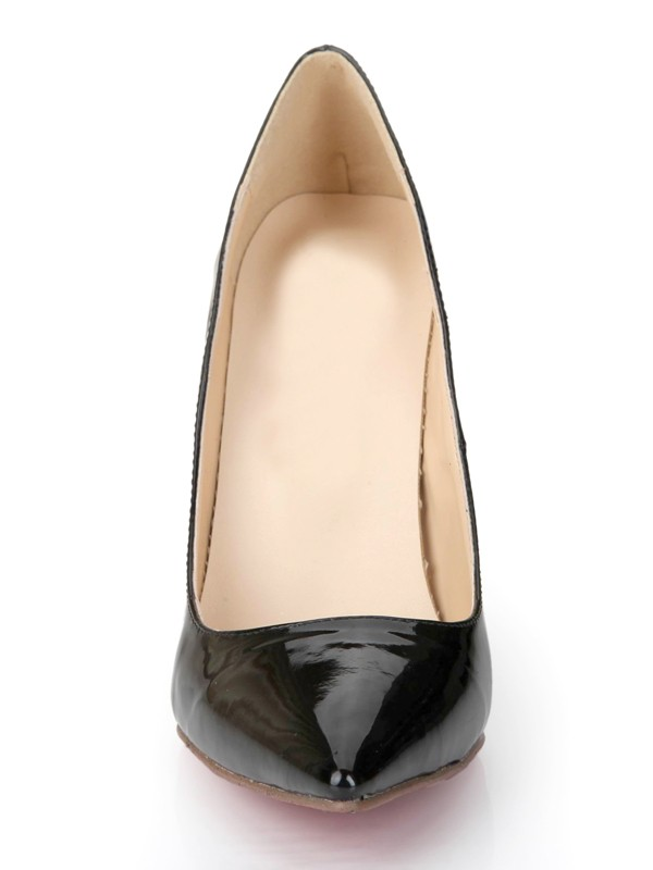 Beautiful Women Black Patent Leather Closed Toe Stiletto Heel Office High Heels