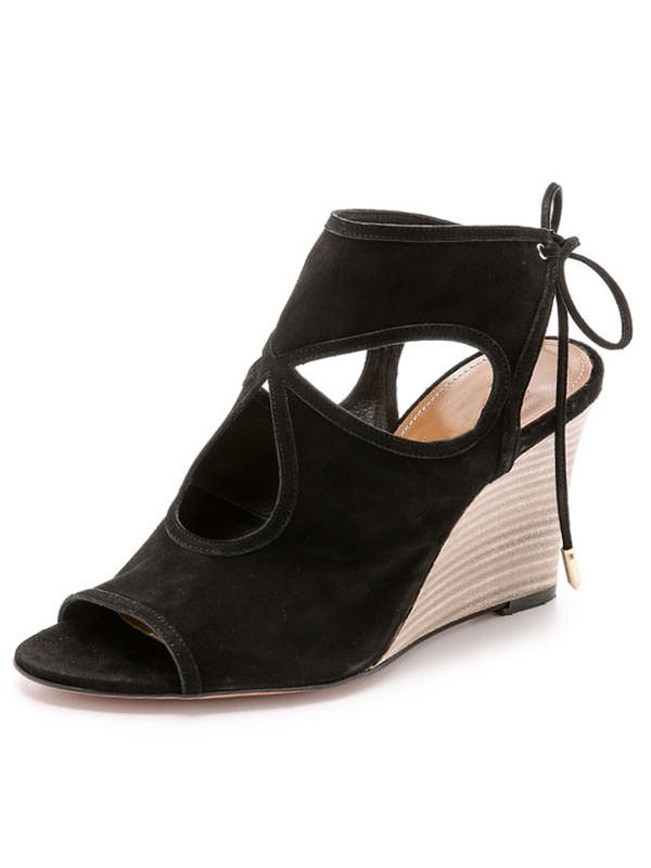 New Women Wedge Heel Suede Peep Toe Lace-up Sandal Ankle Black Boots