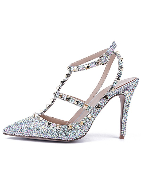 Hot Sale Women Stiletto Heel Patent Leather Closed Toe Sandals Shoes