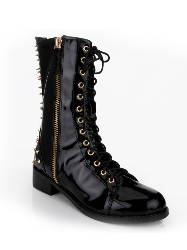 Hot Sale Women Kitten Heel Closed Toe Patent Leather Rivet Mid-Calf Black Boots