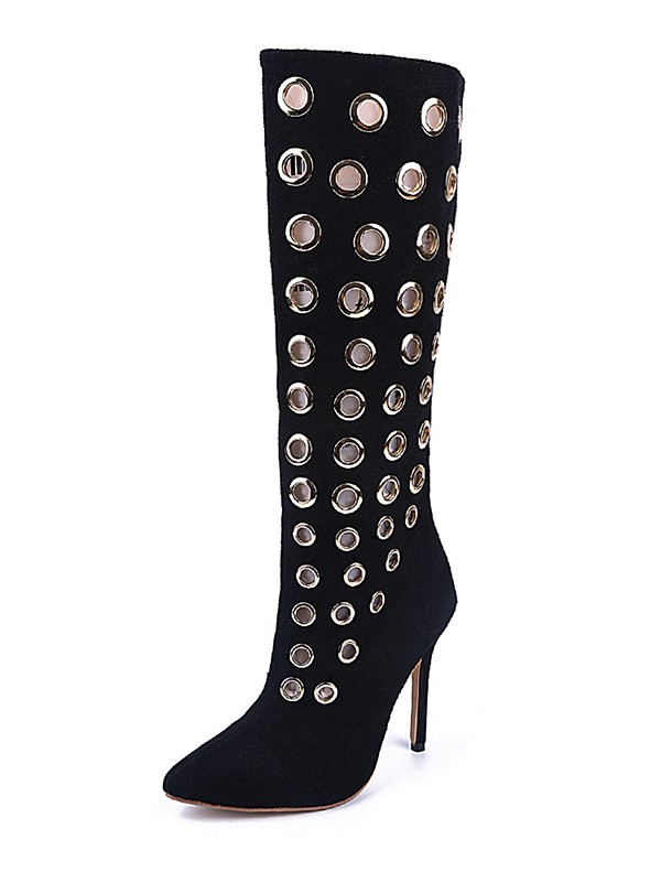 Hot Sale Women Black Suede Closed Toe Stiletto Heel Knee High Black Boots