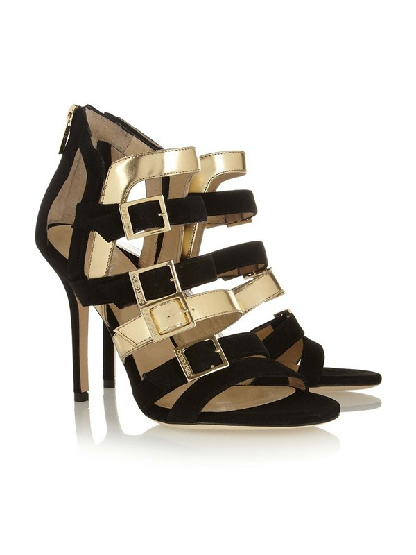Hot Sale Women Peep Toe Suede Stiletto Heel Buckle Sandals Shoes
