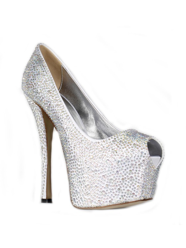 Fashion Women Satin Stiletto Heel Peep Toe Platform High Heels