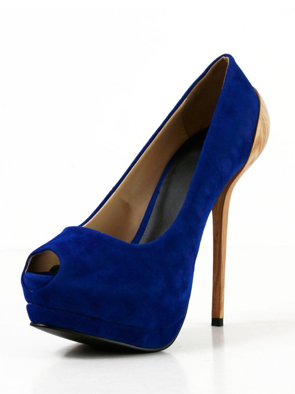 Fashion Women Suede Stiletto Heel Peep Toe Platform High Heels