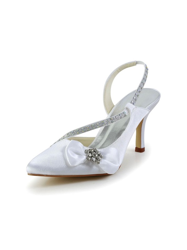 Exquisite Women Satin Closed Toe Spool Heel White Wedding Shoes