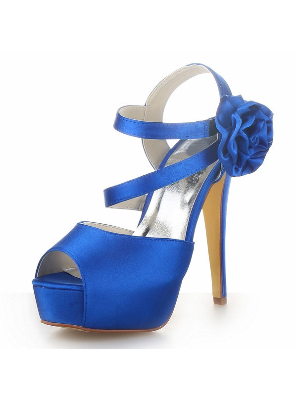 Beautiful Women Satin Peep Toe Platform Stiletto Heel Flower Sandals Shoes