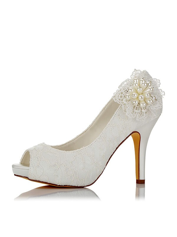 Comfortable Women PU Peep Toe Stiletto Heel Wedding Shoes