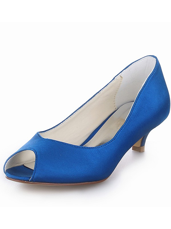 Stylish Women Kitten Heel Satin Peep Toe High Heels