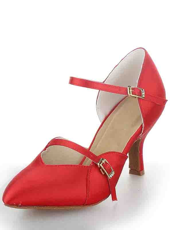 New Women Stiletto Heel Satin Closed Toe Buckle Dance Shoes
