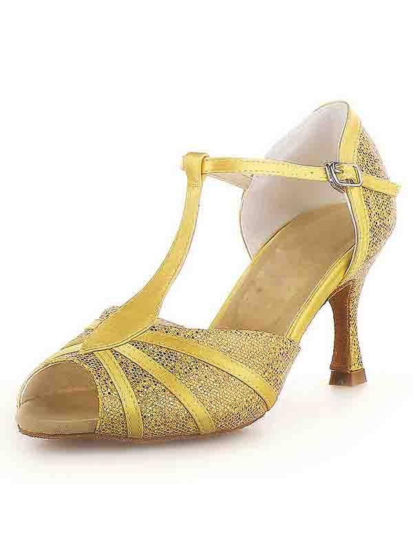 New Women Peep Toe Stiletto Heel Satin Buckle Sparkling Glitter Dance Shoes