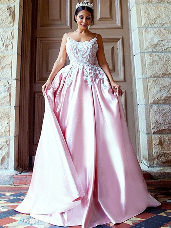 Perfect Ball Gown Sleeveless Spaghetti Straps Sweep/Brush Train Satin Dress