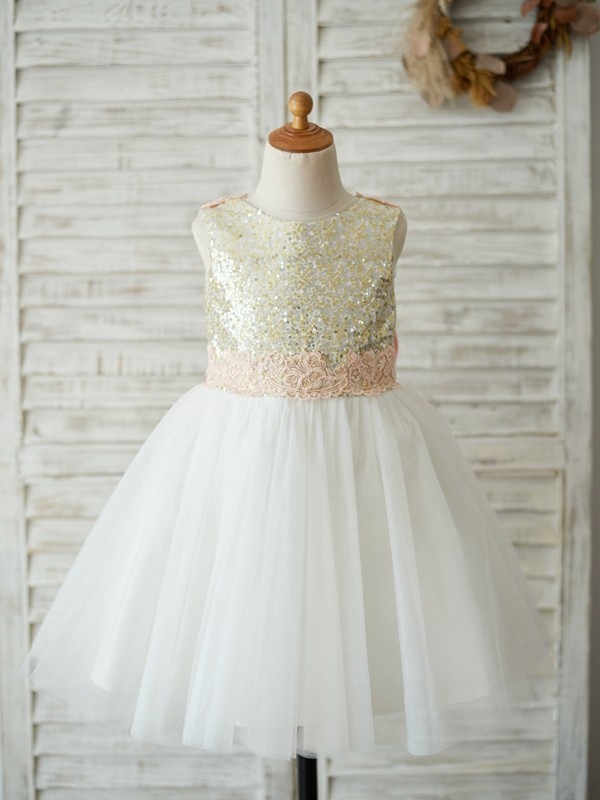 Cheap A-Line Sequin Tulle Scoop Sleeveless Knee-Length Flower Girl Dress