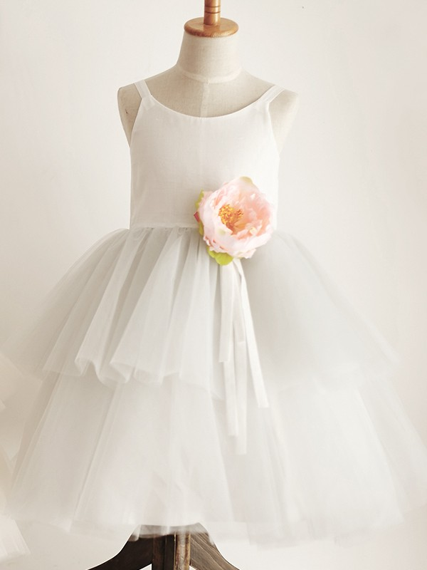 Gorgeous A-Line Tulle Scoop Sleeveless Knee-Length Flower Girl Dress
