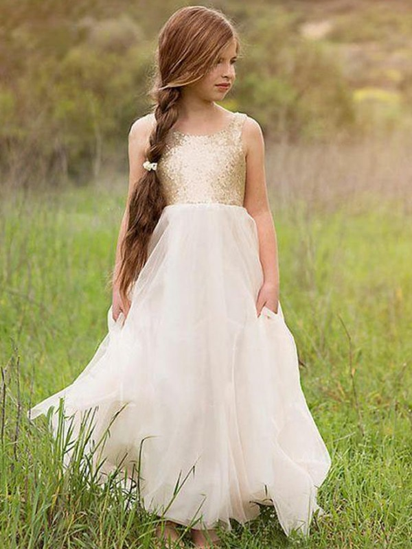 Perfect A-Line Sleeveless Scoop Floor-Length Sequin Tulle Flower Girl Dress