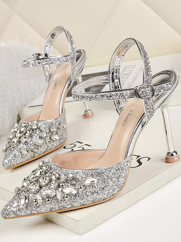 New Women Girls Rhinestone Stiletto Heel Closed Toe Sandals
