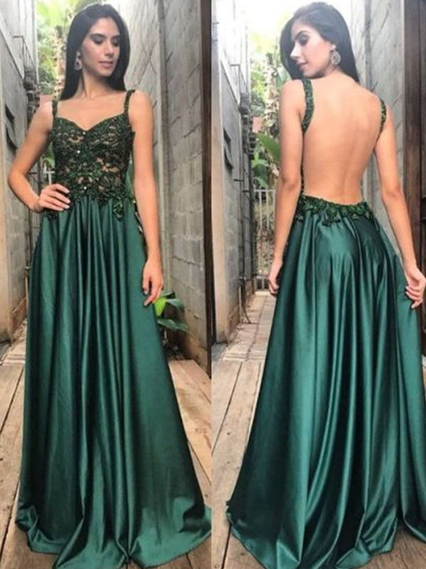 Affordable A-Line Straps Sleeveless Floor-Length Satin Dress