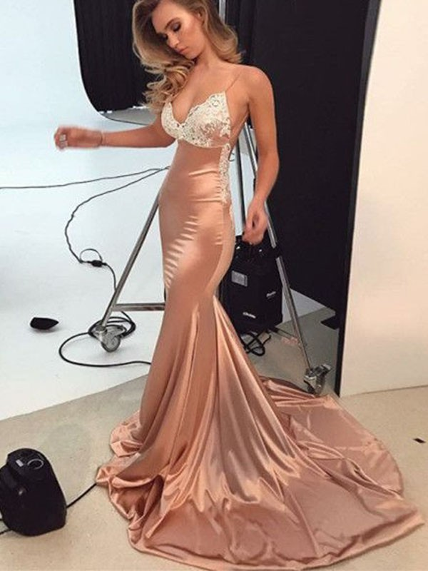 Fashion Mermaid Straps Sleeveless Sweep/Brush Train Satin Dress