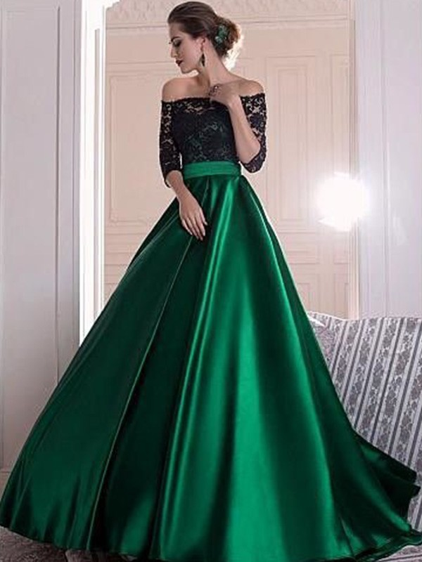 Amazing A-Line Off-the-Shoulder 3/4 Sleeves Lace Sweep/Brush Train Satin Dress