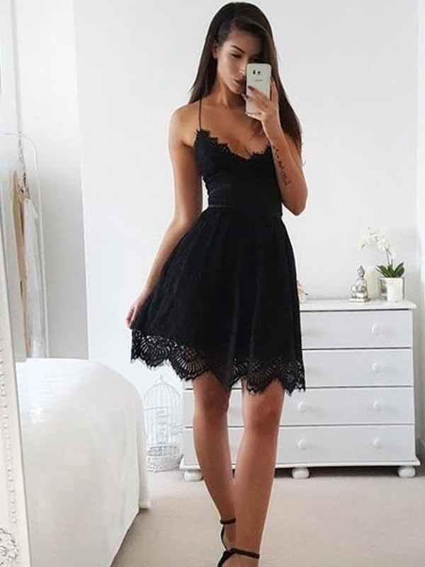 Nice A-Line Lace Spaghetti Straps Sleeveless Short/Mini Dress